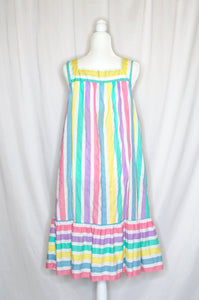 Vintage 70s Striped Tent Dress / S-L