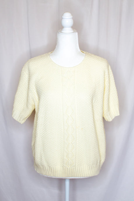 Vintage 80s-90s Cream Cable Sweater / S-L