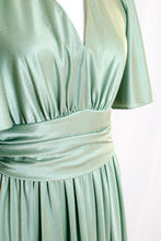 Load image into Gallery viewer, Vintage 70s Mint Green Maxi Dress / S-M