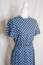 Load image into Gallery viewer, Vintage 60s-70s Blue Print Dress / M