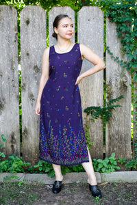 90s Purple Floral Dress / S-M
