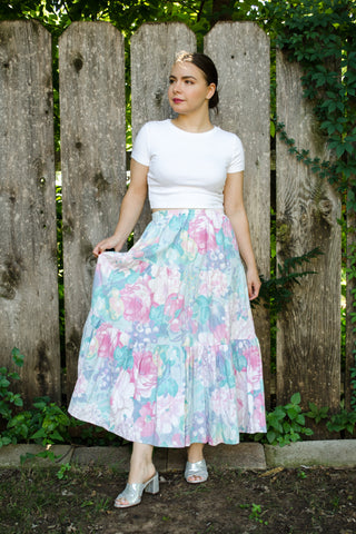 Vintage Floral Tiered Skirt / S-M