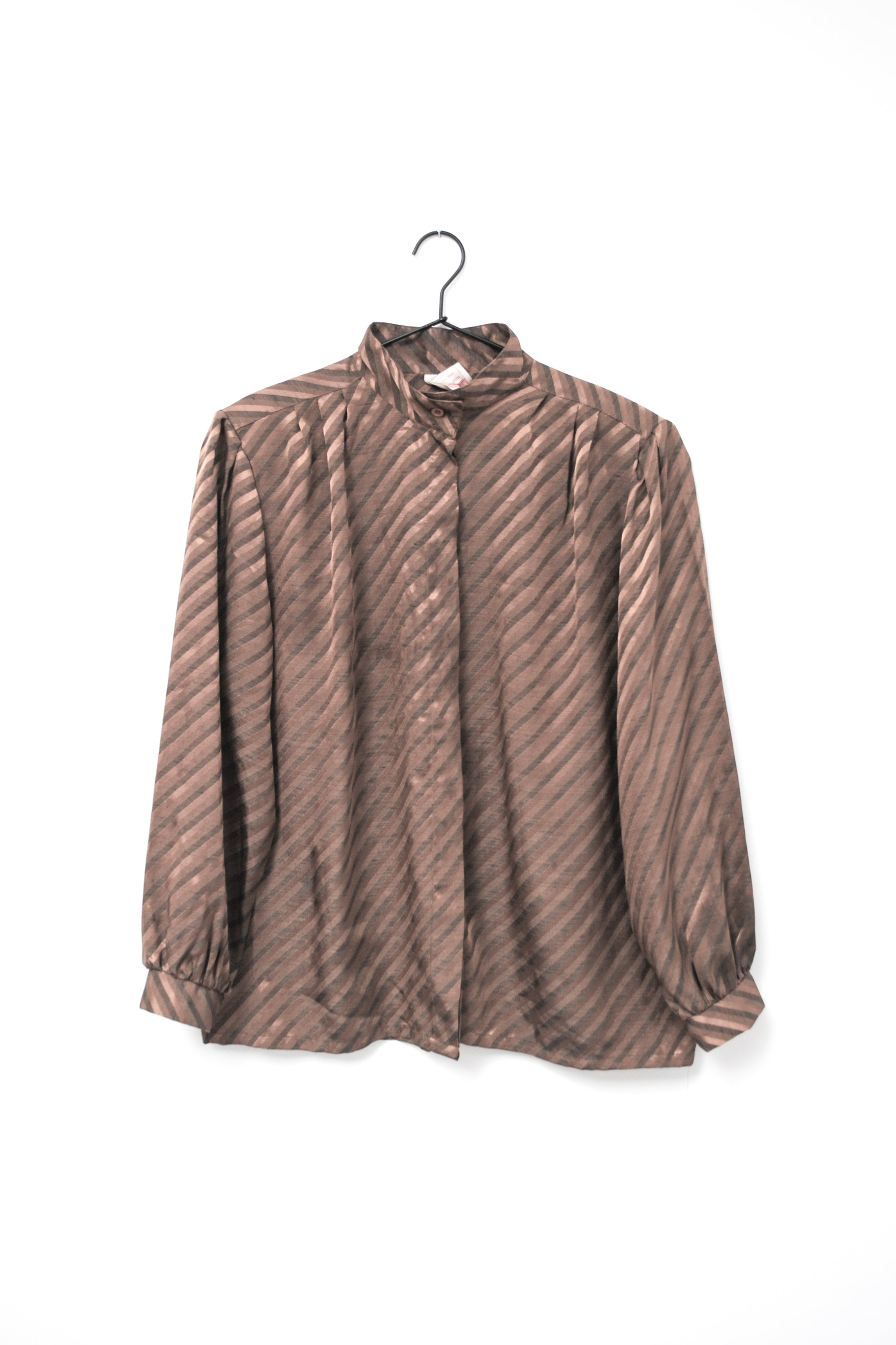 Vintage Brown Striped Blouse / S-M