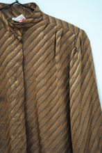 Load image into Gallery viewer, Vintage Brown Striped Blouse / S-M