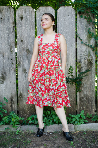 60s-70s Red Floral Empire Waist Dress / S