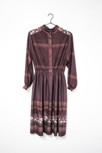 70s Purple Shirt Dress / S-M