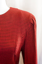 Load image into Gallery viewer, Vintage 80s Red and Black Check Dress / M