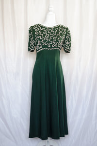 90s Dark Green Maxi Dress / S-M