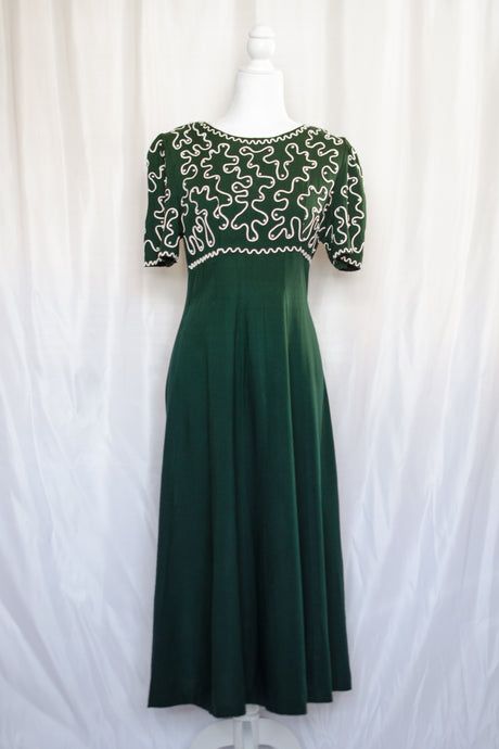 Vintage 90s Dark Green Maxi Dress / S-M