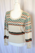 Load image into Gallery viewer, Vintage 70s Cream Geometric Sweater / S-M