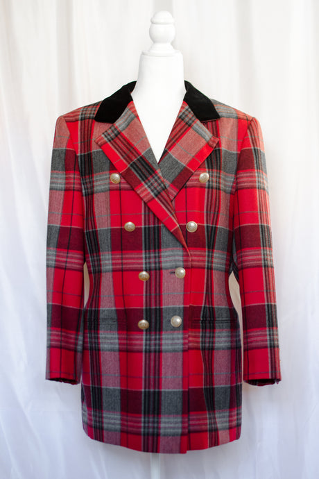 Vintage 80s Red & Grey Plaid Blazer / S-M
