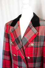 Load image into Gallery viewer, Vintage 80s Red & Grey Plaid Blazer / S-M