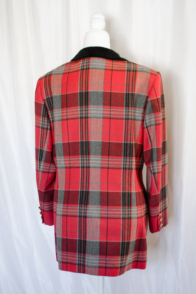 80s Red & Grey Plaid Blazer / S-M