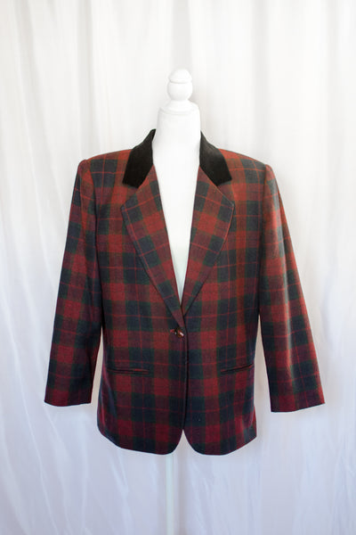 80s-90s Burgundy Plaid Blazer / S-M