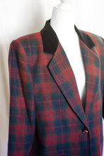 Load image into Gallery viewer, Vintage 80s-90s Burgundy Plaid Blazer / S-M