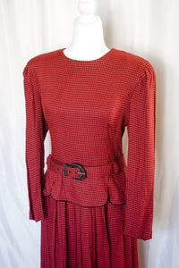 Vintage 80s Red and Black Check Dress / M