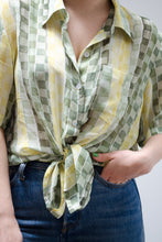Load image into Gallery viewer, Vintage Green Check Sheer Blouse / S-M