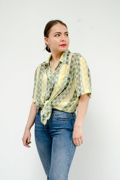 Vintage Green Check Sheer Blouse / S-M