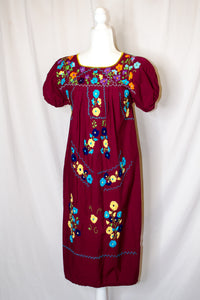 Vintage 70s Burgundy Oaxacan Dress / S-M