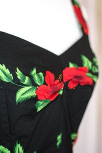 Vintage 80s-90s Black Hawaiian Floral Dress / XS-S