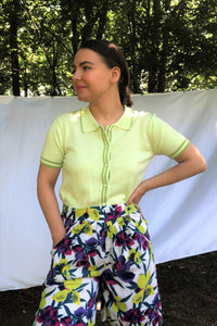Vintage 90s Lime Green Short Sleeve Cardigan / S