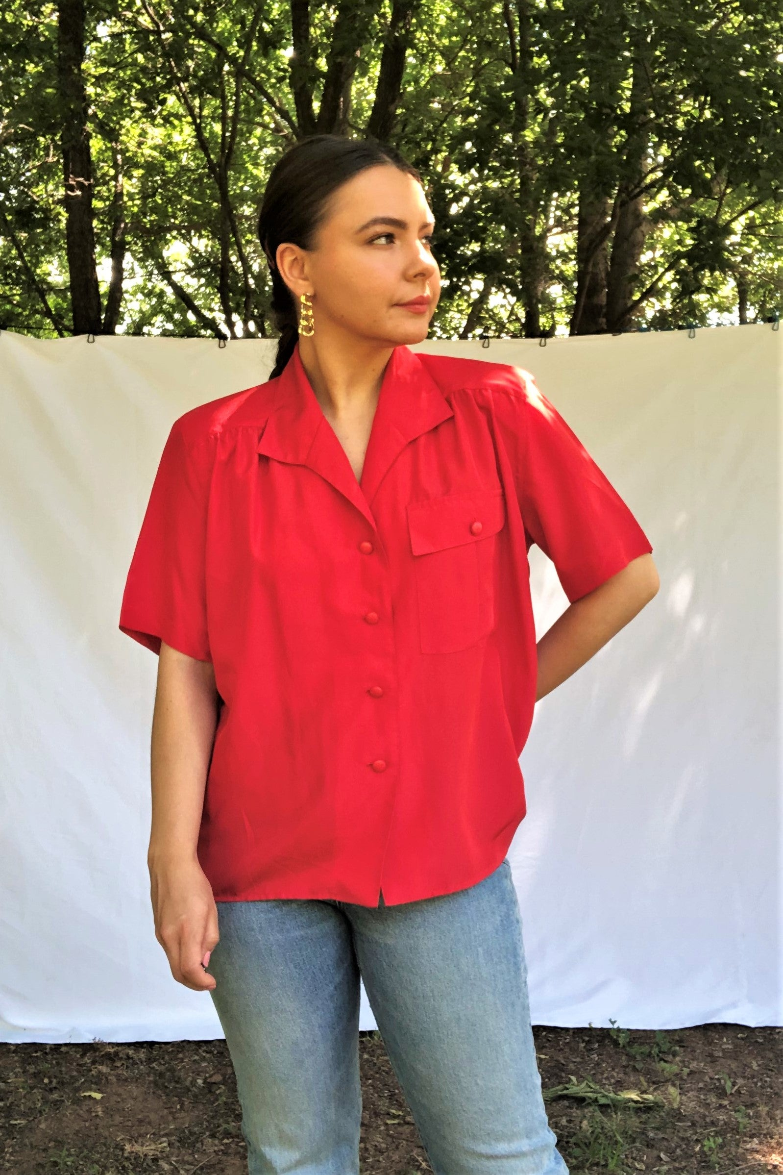 Vintage 80s Red Shirt / S-M