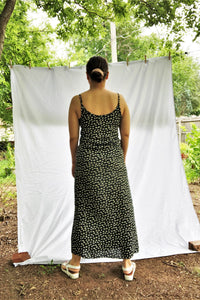 Vintage 80s Dark Green Floral Dress / XS-S