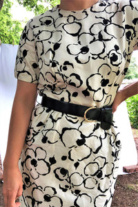 Vintage 60s Black & White Floral Dress / S