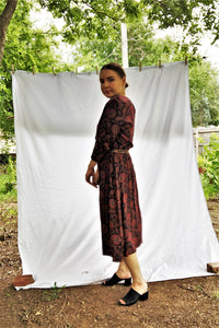 Vintage 90s Red Paisley Midi Dress / S