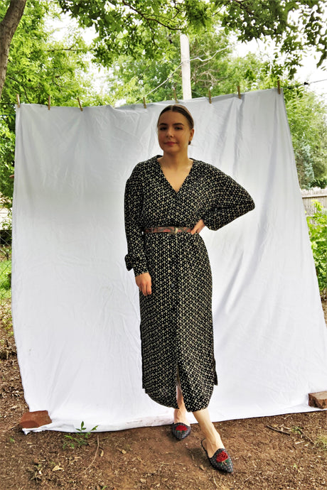 Vintage 80s Navy Diamond Print Shirt Dress / M-L