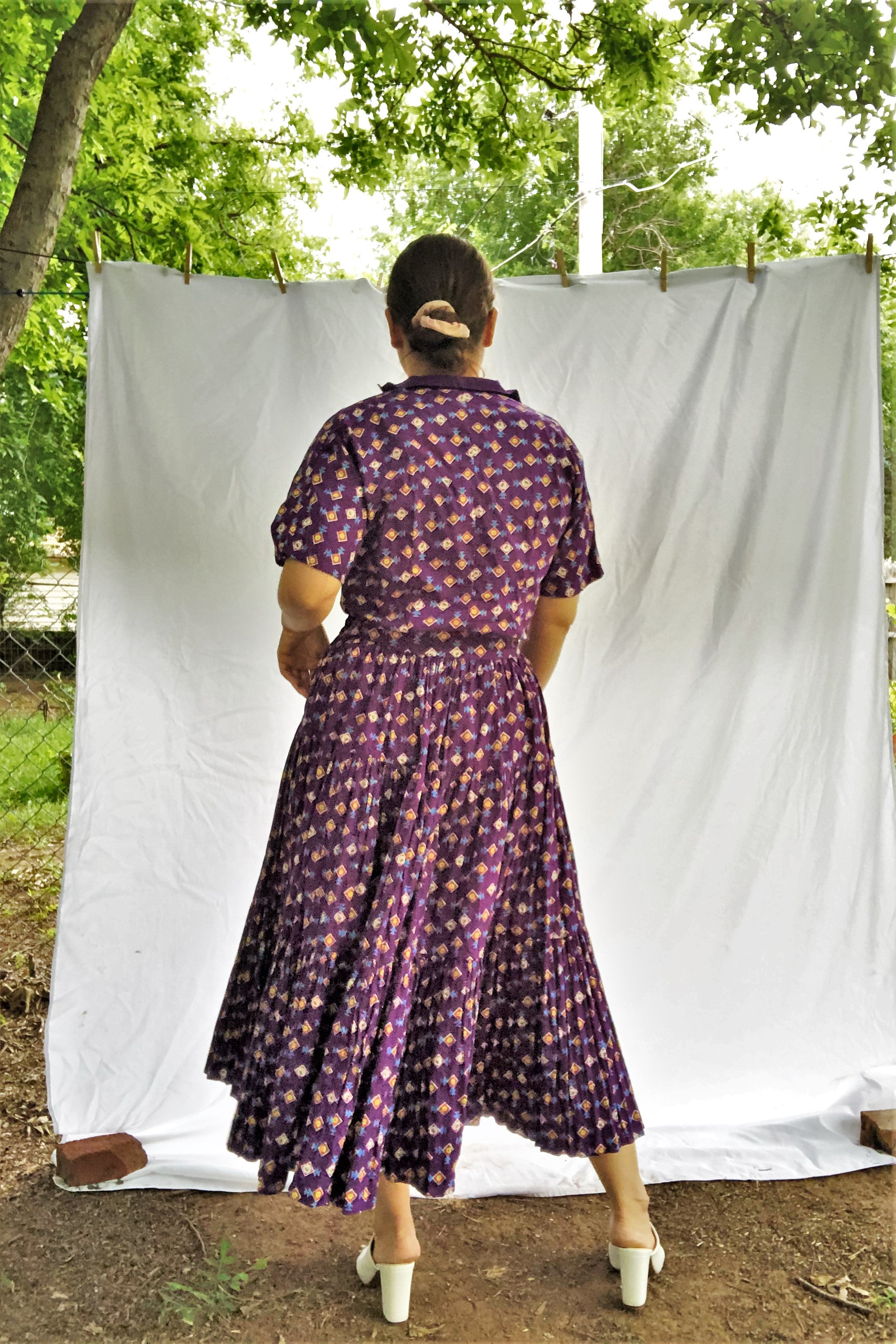 Vintage 70s Purple Southwestern Shirt & Skirt Set / S