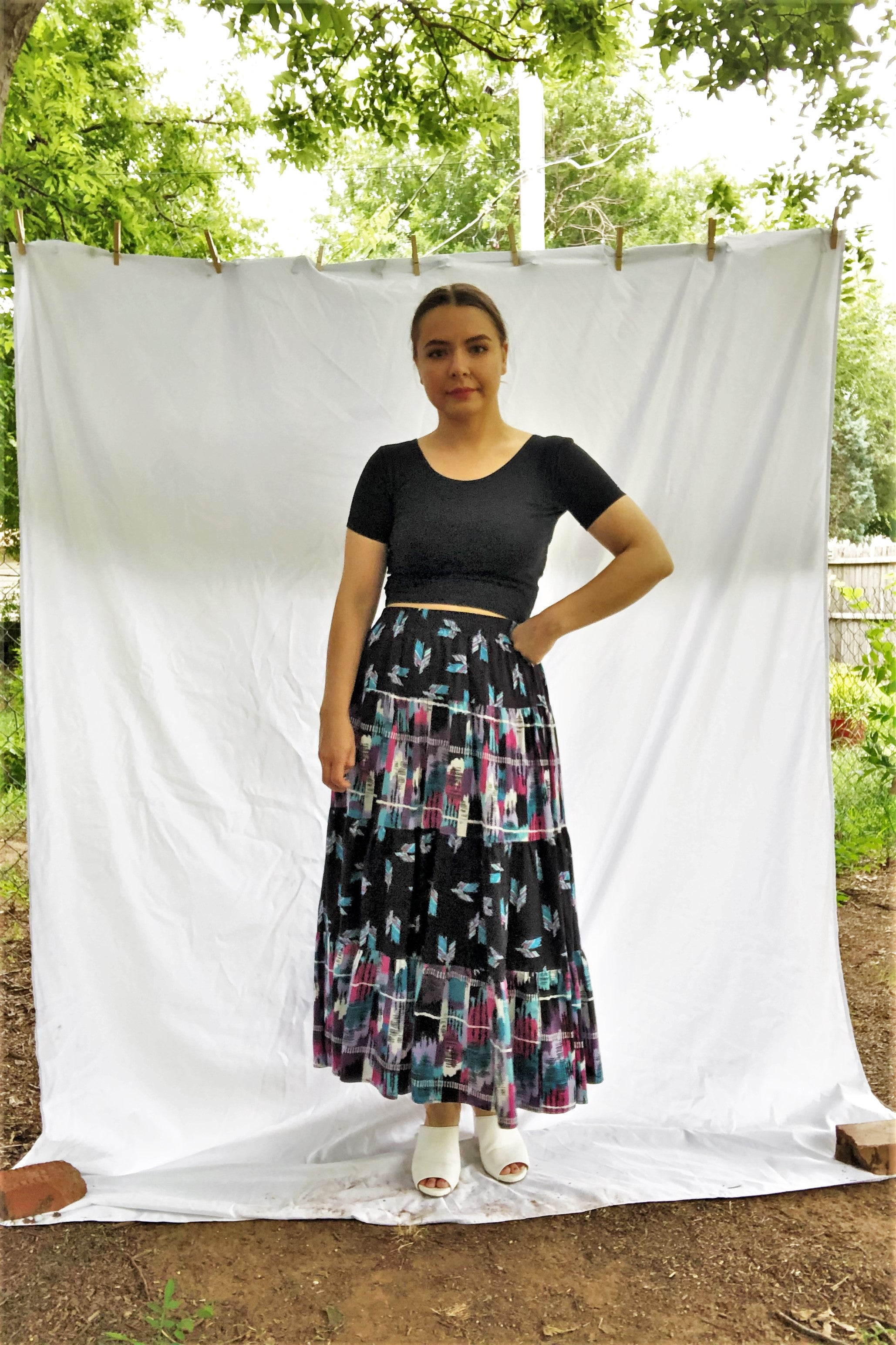 Vintage 80s Southwestern Printed Tiered Skirt / S-M