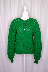 Vintage Kelly Green Cardigan / S-L