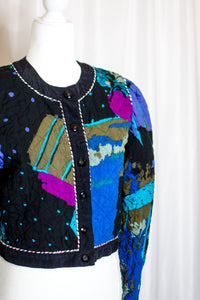 Vintage Painterly Quilted Jacket / XS-S