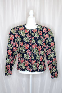 80s-90s Navy Floral Quilted Corduroy Jacket / M-L