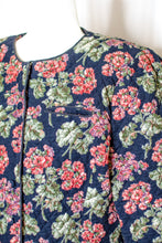 Load image into Gallery viewer, 80s-90s Navy Floral Quilted Corduroy Jacket / M-L