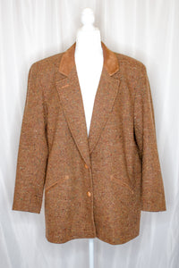 Vintage 80s-90s Brown Tweed Coat / L-XL