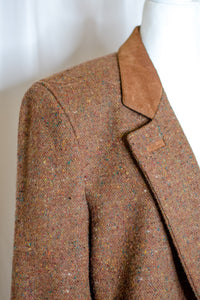 80s-90s Brown Tweed Coat / L-XL
