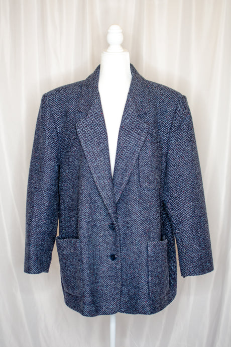 Vintage 80s-90s Navy Tweed Coat / L-XL