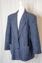 Load image into Gallery viewer, 80s-90s Navy Tweed Coat / L-XL