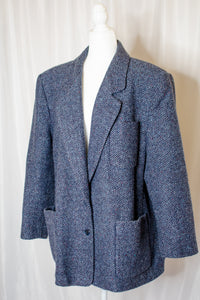 80s-90s Navy Tweed Coat / L-XL