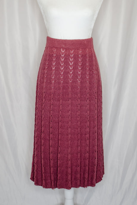 Vintage Pink Sweater Knit Pleated Skirt / XS-S