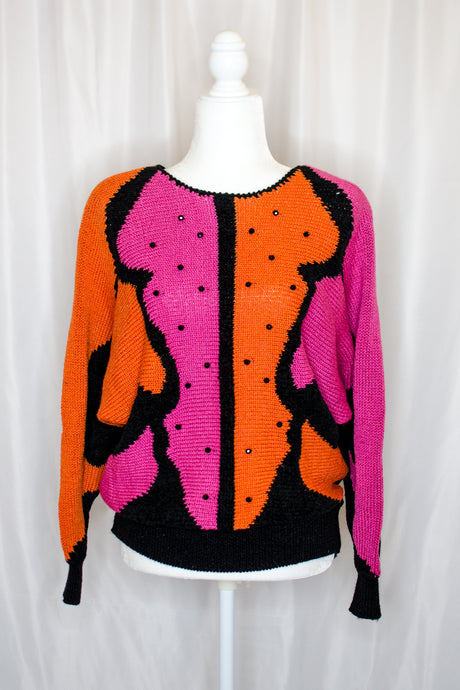 Vintage 80s PInk & Orange Sweater / S-M