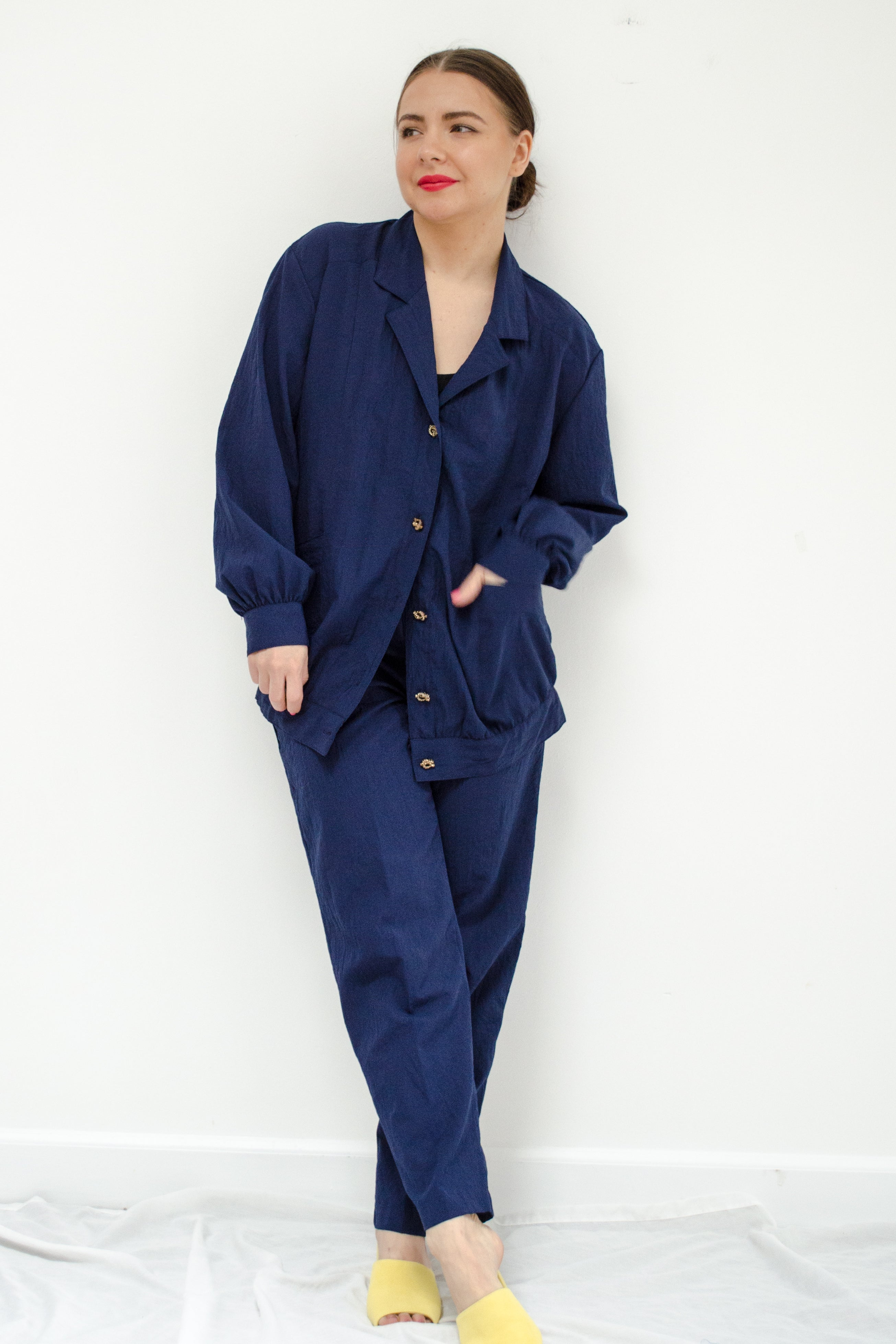 Vintage 80s Navy Track Suit Set by Remo of California / S-M