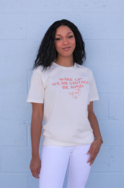 """Wake Up, Wear Vintage, Be Kind"" White Tee"