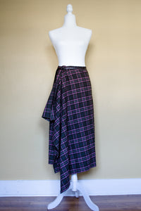90s Brown Plaid Ruffle Skirt / S-M