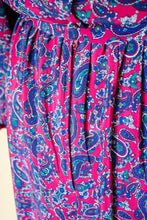 Load image into Gallery viewer, Vintage 80s Magenta Paisley Dress / M-L