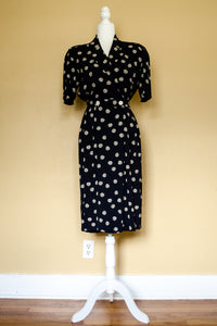 90s Navy Printed Dress / S