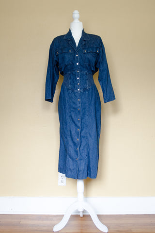 80s Denim Dress / M