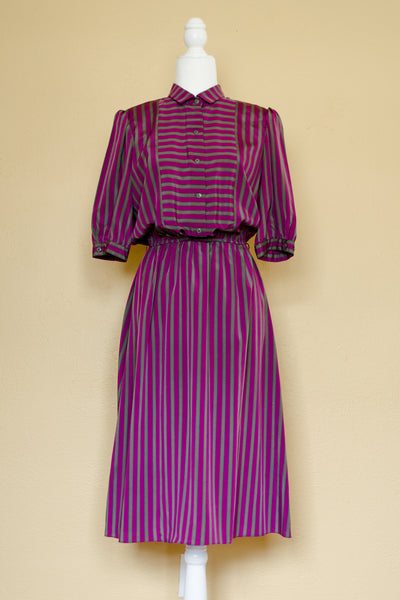 80s Purple & Green Striped Dress / S-M